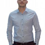 Camasa tip ZARA -alb cu imprimeu floral albastru - Eleganta -Slim Fit Barbati - Camasa barbati, Marime: M, Maneca lunga