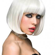 Peruca Scurta Par Artificial Sintetic Cosplay Adult Carnaval Alb White Breton - Peruca Dama