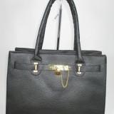 Geanta dama neagra cu lacatel model Hermes+CADOU, Culoare: Din imagine, Marime: Mare