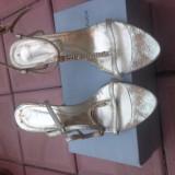 Sandale aurii cu strasuri - Sandale dama, Marime: 41, Culoare: Auriu