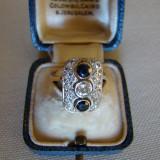 SUPERB INEL AUR 14kt-cu diamante si safire naturale-RAR-(Art Deco) - Inel diamant, Culoare: Galben