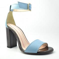 Sandale Dama. Model Piele Naturala Bleu cu Toc Inalt