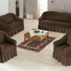 Set huse canapea 3 locuri, canapea 2 locuri si 1 fotoliu 3+2+1 Culoare Maro - Cuvertura