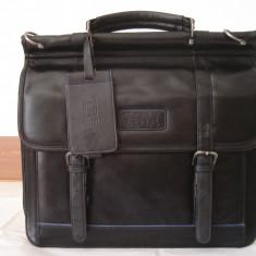 Servieta-geanta barbati piele IBM laptop-business, Marime: Medie, Culoare: Negru