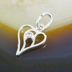 Lantisor aur - Pandantiv model Inima cu Zirconiu, din Argint 925, cod 235