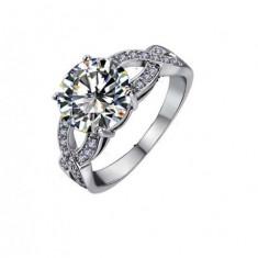 Inel aur - Inel Beautifull White diametru 18 cm cu cristale Swarovski placat cu aur 18k