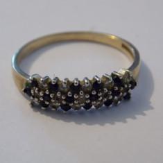 Inel aur 18k cu zirconii negre si diamante