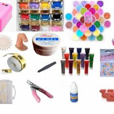 Trusa unghii false cu gel set manichiura incepatori kit contructie unghii lampa - Trusa manichiura