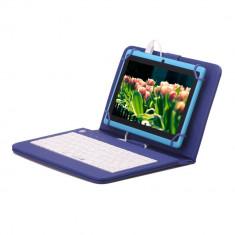 Husa tableta cu tastatura, 8 inch, Universal - Husa Tableta 8 Inch Cu Tastatura Micro Usb Model X, Albastru, Tip Mapa C8