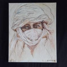 Tabloul portret arab pictat pe panza 30 x 40 cm semnat C.Urban, Portrete, Tempera, Altul