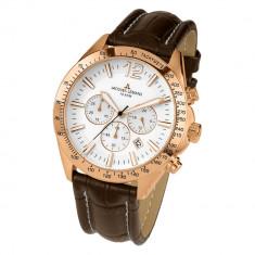 Ceas Barbatesc Jacques Lemans, Elegant, Quartz, Placat cu aur, Piele, Cronograf - Ceas Jacques Lemans, chronograph, placat cu aur