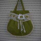 Poseta verde handmade - Geanta handmade