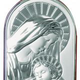 Maica Domnului si Iisus, Lucrata pe Foita de Argint 925, 9.5x13.5cm