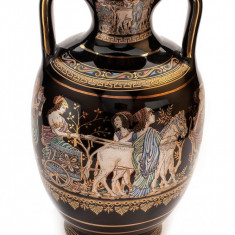 Arta Ceramica - Vaza din ceramica decorata cu foita de aur 24K, 20 cm
