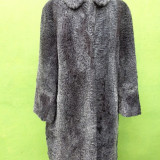 Palton dama, Piele - Haina din blana naturala astrahan gri