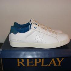 Adidasi Replay Mr Murray Mens Trainers din piele naturala nr. 40 41 42 43 44 - Adidasi barbati Replay, Culoare: Alb