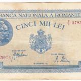 3)Bancnota 5000 lei 28 septembrie 1943 VF portret Traian+Decebal, An: 1943