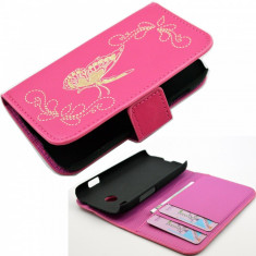 Husa Samsung Galaxy Ace Style G310 portofel carte flip roz cu fluture - Husa Telefon Samsung, Piele Ecologica
