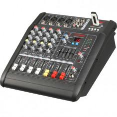 MIXER PROFESIONAL AMPLIFICAT, 200 WATT,4 CANALE,MP3 USB,EFECTE VOCE,SUNET HI FI.