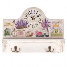 Cuier perete cu ceas Lavender - Cuier hol