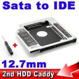 12.7mm  HDD/SSD caddy adaptor rack de la SATA la IDE de laptop (unitate optica)