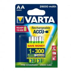 Baterie Aparat foto Varta, Tip AA (R6) - ACUMULATORI VARTA R6 AA, 2 BUC / SET, BATERII REINCARCABILE Ni-MH, 2600 mAh
