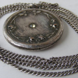 Lant si medalion pandantiv vechi din argint cu piatra - Pandantiv argint