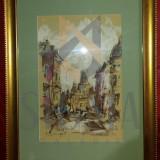 Tablou Radu DARANGA - Peisaj bucurestean, acuarela LIPSCANI, 45x 35 cm - Pictor roman
