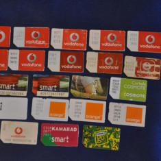 Lot 23 Cartele SIM expirate, de colectie! Connex Go, Vodafone, Orange, Kamarad.Vechi - Cartela GSM