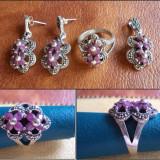 Set argint cu marcasite si rubin - INEL + CERCEI + MEDALION (2) - Set bijuterii argint