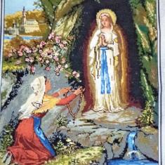 Goblen -Fecioara si Bernardette-Lourdes - Icoana brodate