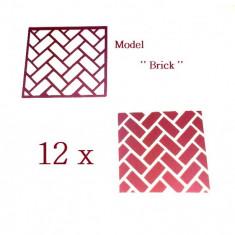 Unghii modele - Set 12 sabloane vinyl ''Brick''