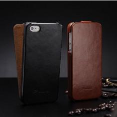 Husa / toc protectie piele fina iPhone 4 / 4s lux, tip flip cover, culoare NEGRU - Husa Telefon Apple