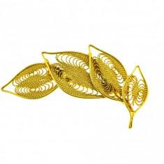 Brosa placata aur, gold plated 18 k, duble, vintage, model frunza, filigran - Brosa placate cu aur