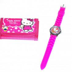 Ceas Copii Disney - Set ceas de mana si portofel Hello Kitty