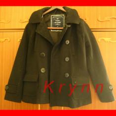Palton negru modern, marime S/M, cu gluga - Palton dama