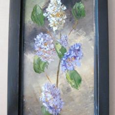 Flori de liliac tablou pictat in ulei pe panza natura statica moarta - Tablou pictori romani, Natura statica, Ulei, Realism