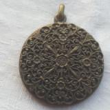 Medalion art nouveau Franta 1900 cu Oglinda executat manual Vintage de Efect, Alama