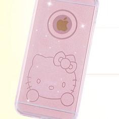 Husa silicon hello kitty si sclipici iphone 6, 6s - Husa Telefon, Transparent