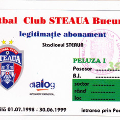 Legitimatie-abonament fotbal - STEAUA BUCURESTI sezonul 1998-1999 - Bilet meci