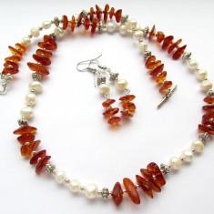 Set chihlimbar cu perle naturale - Set bijuterii handmade si fashion