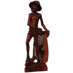 Statueta de lemn Pescar 60 cm - Arta din Africa