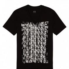 Tricouri Armani FOILED ANGLE TEE masura S M - Tricou barbati Armani Exchange, Culoare: Negru, Bumbac