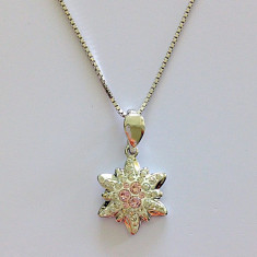 Colier 37- Swarovski Floare de colt cu argint 925 - Colier argint