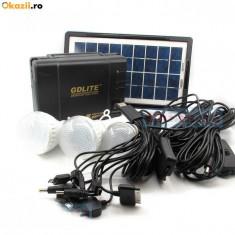 Panou solar fotovoltaic 3 becuri incarcare telefon KIT iluminare GDLITE GD8006 - Panouri solare