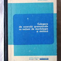 Culegere de exercitii gramaticale cu notiuni de morfologie si sintaxa-S. Popescu - Culegere Romana
