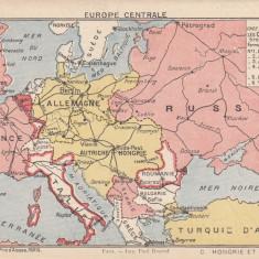 CARTE POSTALA MILITARA, DUBLA, CU HARTA EUROPA CENTRALA - Carte postala tematica, Necirculata, Printata