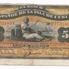 CUBA 5 PESOS 1896 [2] P-48b, cu supratipar PLATA - bancnota america