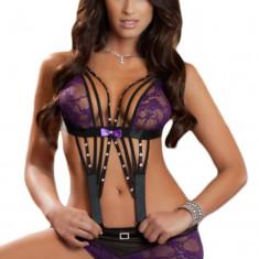Body dama - N450-11 Lenjerie sexy tip body cu dantela si pietricele