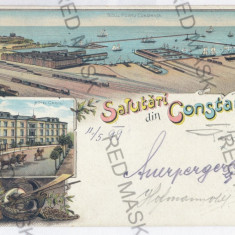 1262 - L i t h o, CONSTANTA - old postcard - used - 1899 - Carte Postala Dobrogea pana la 1904, Circulata, Printata